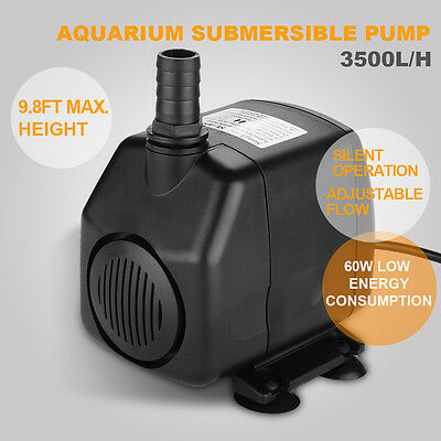 3500L/H 930GPH 60W Pompe à eau d'aquarium Submersible Aquarium Poisson Fontaine