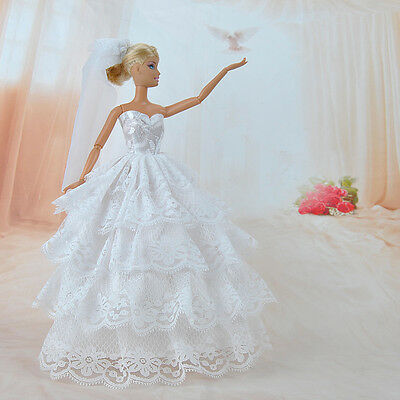 Handmade Princess Wedding Party Dress Clothes Gown With Veil For Barbie Dolls K