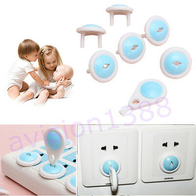 6pcs Electric Socket Outlet Plug Safety Safe Lock Cover for Baby Kids AV
