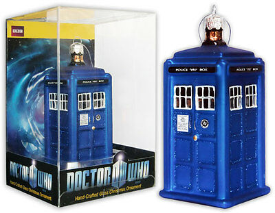 """Doctor Who Tardis Figural Christmas Ornament 4.25"""" $12.99 New In Acrylic Package"""