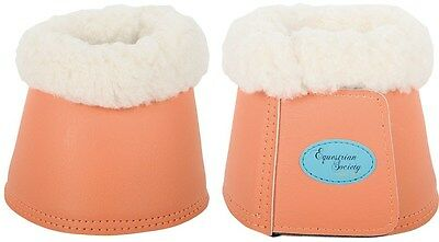 Harrys Horse Leather Over-reach Bell boots with Fleece Living Coral Medium