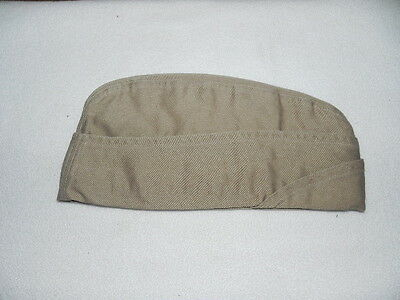WWII US Army Military Garrison Cap Hat Khaki (M) 7 1/8  No Piping Cotton