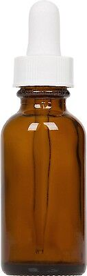 12 Pack Amber Glass Boston Round Bottle w/ White Glass Dropper 1 oz