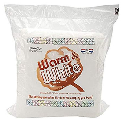 "Warm & Natural Cotton Batting -Queen Size 90"" X 108"" Perfect For Quilts NEW"