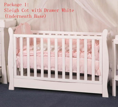 New 3 IN 1 Sleigh Cot with Drawer Crib Baby Bed Toddle Bed Wheel Dropside White