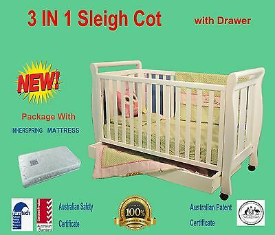 NEW 3 IN 1 SLEIGH COT WHIT DRAWER ORGANIC MATTRESS CRIB  BABY TODDLE BED post AU