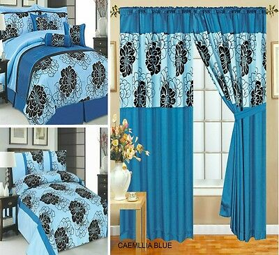 Curtains Pairs Pencil Pleat Fully Lined & 7 Pcs/ 3 Pcs Bedspread Comforter Blue