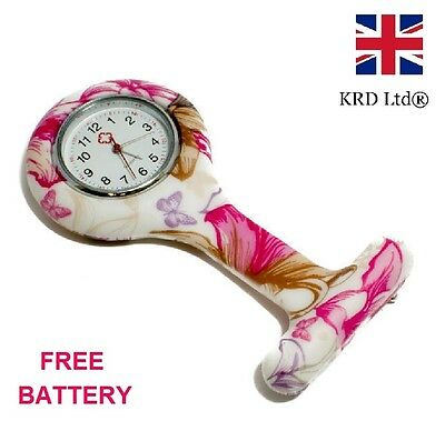 FLOWER & BUTTERFLY Fashion Silicone Brooch Tunic Fob Nurse Watch + FREE BATTERY