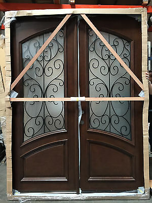 SALE! 8ft Wood Iron Door Pre-hung &Finished DMH8619-6-IRON Frosted Glass