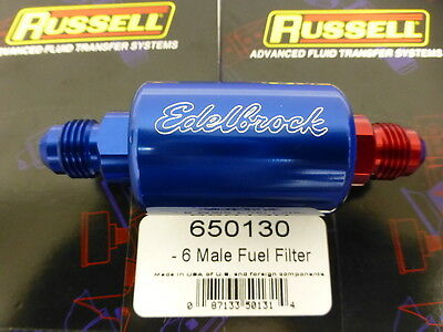 Russell 650130 Edelbrock 8130 Fuel Filter AN6 # 6 AN Male Inlet Outlet Red Blue