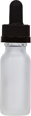 Frosted Glass Bottle w/ Black Child Resistant Glass Dropper 0.5 oz