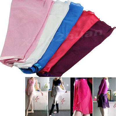 New Adult Women Chiffon Ballet Leotard Tutu Wrap Scarf Skirt Dance Dress 5 Color