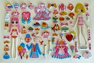 3D Crystal Girl Change Clothes Dress up Flowers Bows Dog Party Time Sticker 001