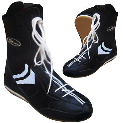 ZstarAX Leather Boxing Boots / Shoes Long Anklet Training Martial Art  ALL SIZES
