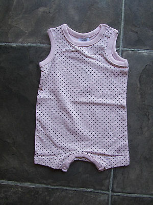 BNWT Baby Girl's Pink & Grey Spots Romper/Bodysuit Sizes 0000, 000, 00 & 0