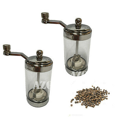 NEW 2Pcs Quality Salt And Pepper Mill Grinder Clear Acrylic Ceramic Grinder 10CM