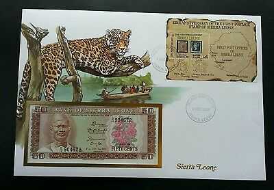 Sierra Leone 125th Ann Of First Postage Stamp 1988 Leopard Cat (banknote cover)