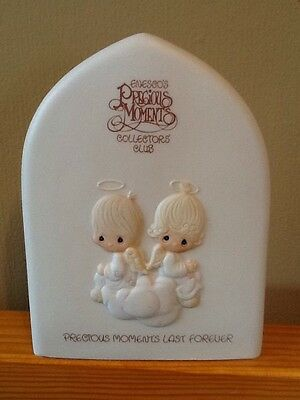 Precious Moments Last Forever Collector's Club Plaque Pair of Angels on Cloud