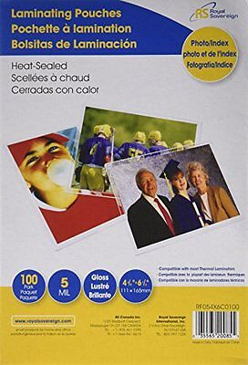 """Royal Sovereign Heat Sealed Laminating Pouches 5 Mil 4"""" X 6"""" Photo/Index Card"""