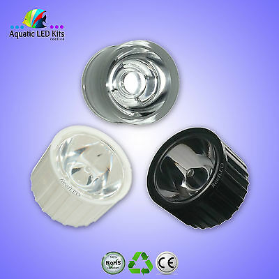 Led Lenses 60, 90, 120 Degree / 1w, 3w Led / White, Black, Clear Holder UK Stock