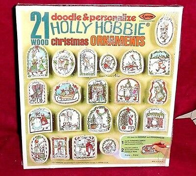 VINTAGE ARROW Mahogany Wood 21 Christmas Holly Hobbie Ornaments Craft Kit