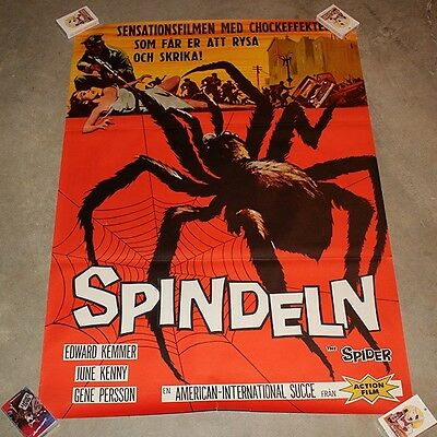 1958 Spindeln Movie Poster - Earth vs the Spider - Swedish