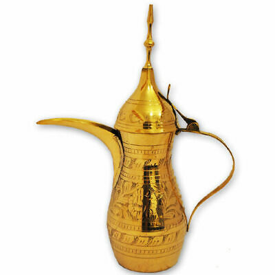 "Brass copper vintage authentic 15"" XL Dallah Arabic coffee pot tea from Israel"