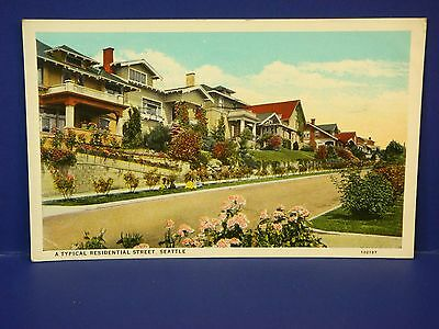 Typical Residential Street Seattle 1931 Vintage Color Postcard PC7