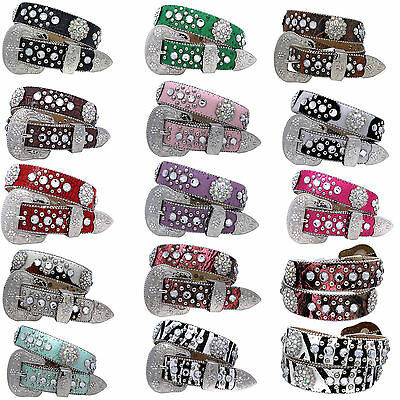 1372_Girls Western Rhinestone Childrens Western Kids Bling Belts Girls Belts