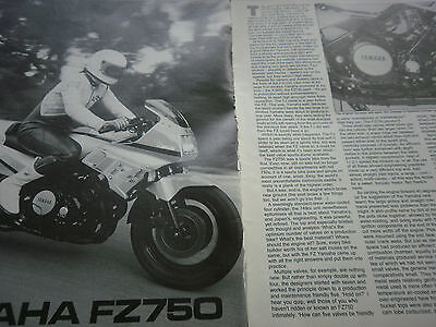 Yamaha Fz 750 # Original Vintage Motorcycle Article # 4 Pages