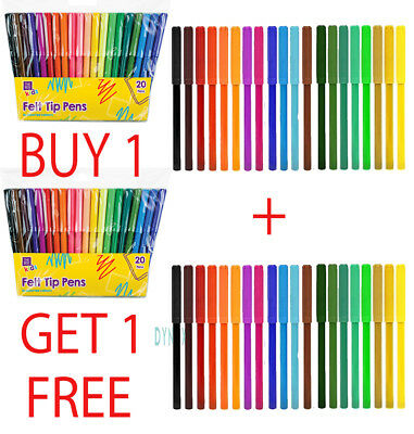 40x COLOUR THERAPY FINE TIP FELT PENS COLOURING DRAWING MARKERS PENS SCHOOL ART