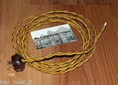 GOLD ~ 8' Vintage Lamp Cord ~ Twisted Cloth Covered Wire w/ Acorn Plug ~ by PLD