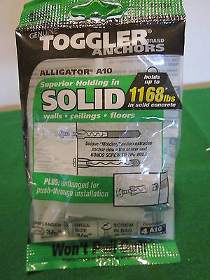 "Bag - (4) w/Screws TOGGLER® ALLIGATOR® A10 3/8"" dia. Unflanged Solid-Wall Anchor"