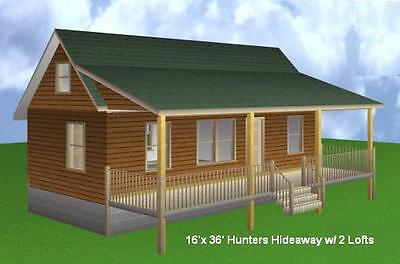 16'x 36' Cabin w/ 2 Loft Plans Package, Blueprints, Material List