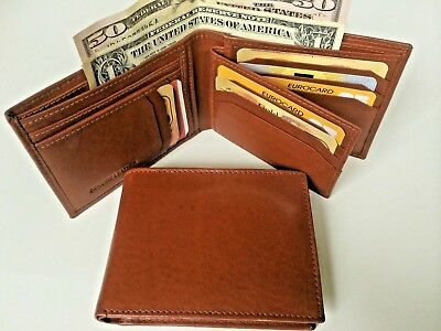 Handmade Genuine Leather Mens Wallet w/ 11 Slots For Credit Cards-Burgundy AE-08