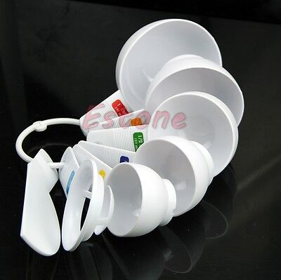 7 pcs White Plastic Measuring Cups Spoons Kitchen Set Tool for Baking Cook