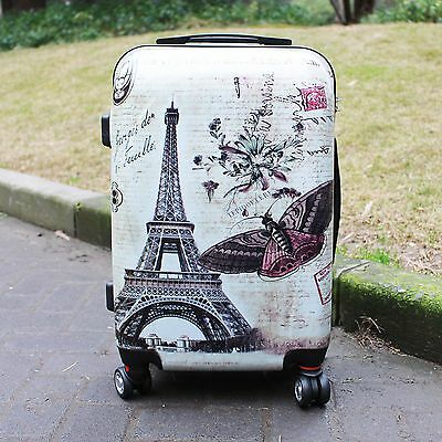 Hard Shell 4 Wheel Spinner Luggage Suitcase ABS Case Cabin Butterfly LightWeight