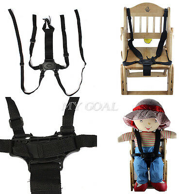 5 Point Baby Infant Safe Black Belt For Stroller Chair Pram Buggy Strap Harness