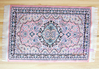 "Dollhouse Miniature Embroidered Carpet Rug Pink  6""x10""  New Arrivals #OR207"