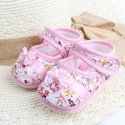 Cute Newborn Infant Toddler Shoes Baby Girls Bowknot Soft Sole Crib Shoes 0-18M