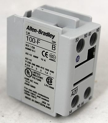 Allen Bradley MCS 100 Auxiliary Contact Block for Front Mounting ~ 100-FA20 ~NIB