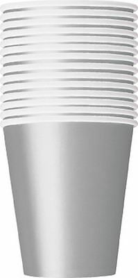 Solid Silver Colour 14 Party Paper Cups 266Ml/9 Oz Tablewear Party Catering