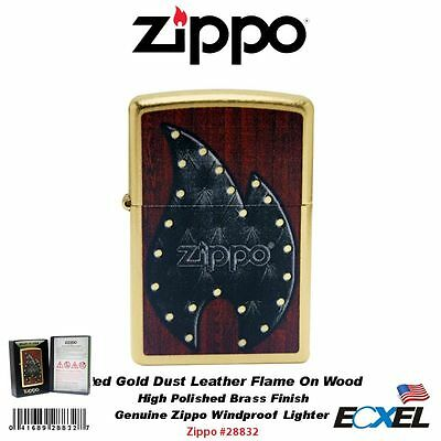 Zippo #28832 Red Gold Dust Leather Flame On Wood Lighter, Classic, Windproof