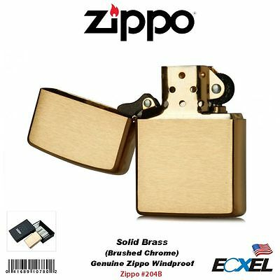 Zippo 204B, Lighter, Solid Brass, Brushed Finish, Classic, Genuine USA Windproof