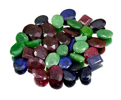 340ct / 35pcs Natural Emerald Sapphire Ruby Ring Size Gemstone Wholesale Lot