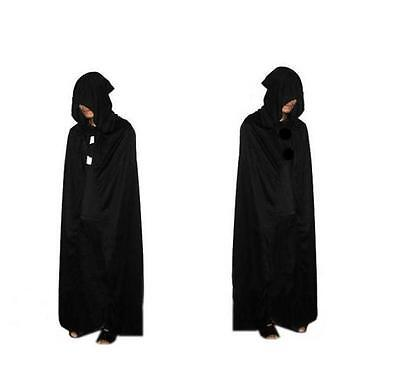 Gothic Hooded Cloak Wicca Robe Medieval Witchcraft Cape Halloween Fancy Dress N7