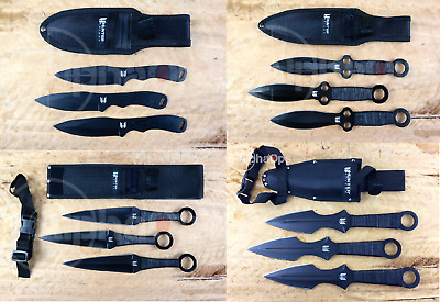 "New Ninja Tactical Throwing Knives Set 12pc Set 6.5"" Game Combat Black w/Sheath"