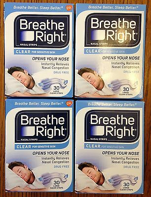 120 BREATHE RIGHT Nasal Strips Clear Size SMALL MEDIUM Nose Stop Snoring Breath