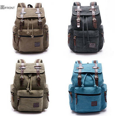 Men's Vintage Canvas Leather  School Hiking Travel Military Backpack Bags Bag AU