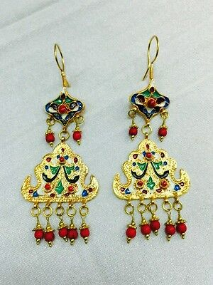 Afghan Natural Coral Earrings Gold Plated Vintage Ethnic Tribal Kuchi Handmade